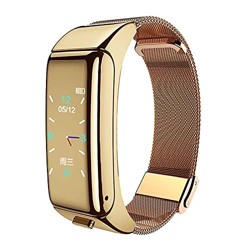 2 in 1 Talkband Bluetooth Headset Smart Bracelet Handsfree Smart Watch Fitness Headset Earphone Heart Rate Monitor Fitness Tracker (Gold-Gold Steel Belt)