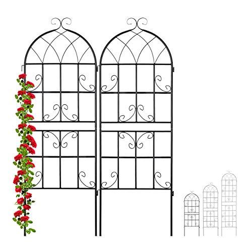 Relaxdays Rankgitter Metall, 2er Set, zum Stecken, Rankhilfe für Kletterpflanzen, 150 x 50 cm, Spalier Garten, schwarz
