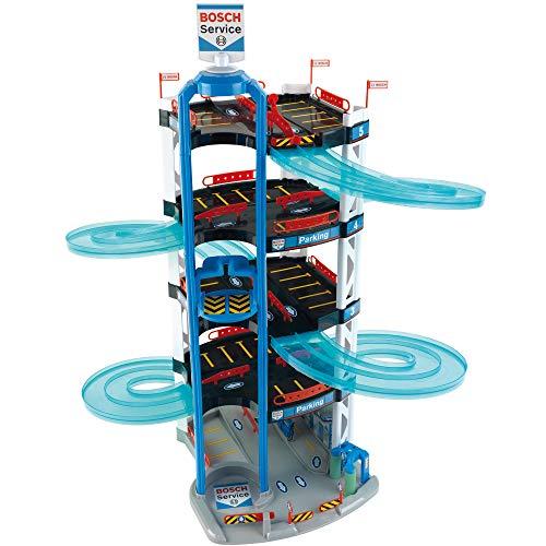Theo Klein 2813 Bosch Car Service Parkhaus I Mit 5 Ebenen, doppelter Abfahrtrampe, 2 Rennautos, Fahrstuhl und vielem mehr I Maße: 55 cm x 55 cm x 85 cm I Spielzeug für Kinder ab 3 Jahren