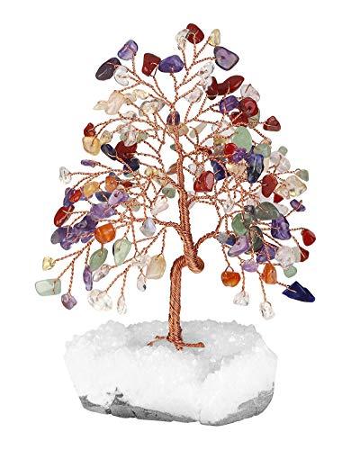 JSDDE Feng Shui - Árbol de la Suerte con Base de Cristales, curación de Reiki, Chakras, Piedras de Tambor, árbol de la Vida, hogar, habitación, Oficina, decoración