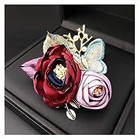 ブローチ 布の花ブローチパールバタフライラペルピンとブローチの高級カーディガンスカーフバックルコサージュブローチの女性アクセサリー (Metal color : Red)