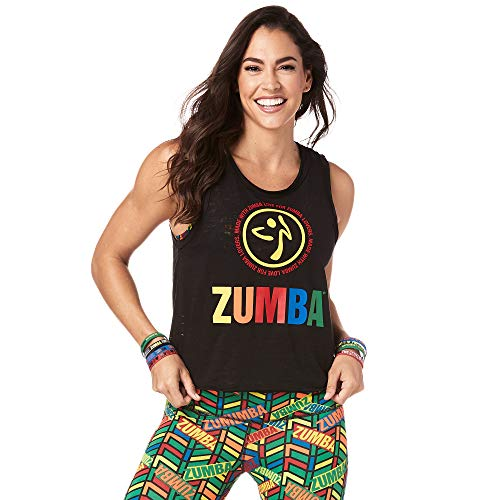 Zumba Aktiv Burnout Dance Workout Kleidung Damen Fitness-Tanktop mit Grafikdruck, Bold Zumba Black, L