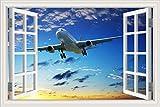 Etiqueta de la pared de la ventana 3D PVC Decal poster mural ciudad cielo nubes Vuelo despegue aterrizaje Avión volador avión avión paisaje decoración del hogar dormitorio