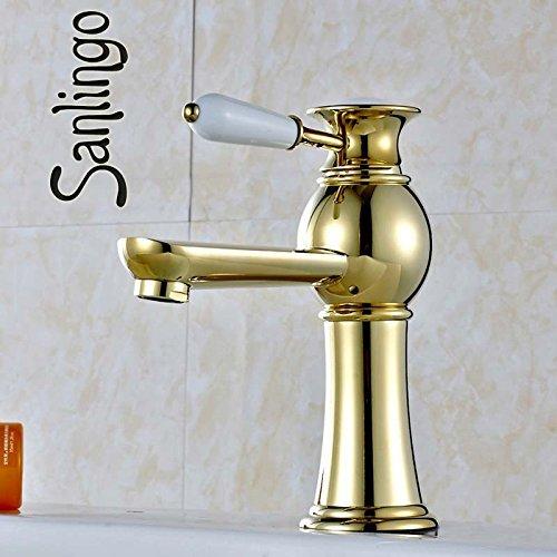 LITINGT Serie Evan, baño Retro, Lavabo, Lavabo, Lavabo, Grifo de Agua de una Sola Palanca, Oro Sanlingo