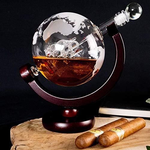 Whisiskey® Whiskey Karaffe - Globus - Whisky Karaffe Set - 900 ml - Geschenk für Männer und Frauen - Inkl. 9 Whisky-Steine und Schenktülle - 4