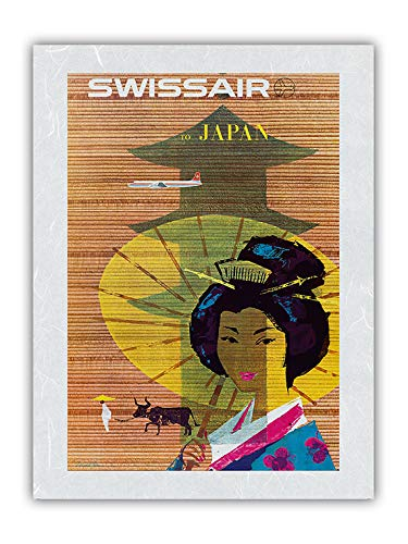 Japan, Tokio – Geisha Girl – Swissair – Vintage Fluggesellschaft Reise Poster von Donald Brun c.1958 – Premium Washi Unyru Reispapier Kunstdruck 30,5 x 40,6 cm