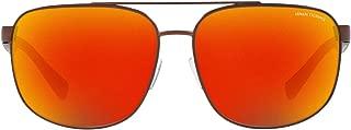 A X Armani Exchange Men's AX2026S Rectangular Metal Sunglasses, Matte Bronze/Grey Mirror Red/Yellow, 64 mm