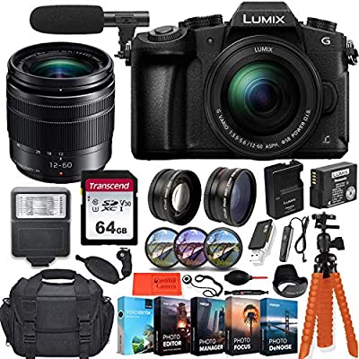 Panasonic Lumix DMC-G85MK 4K Wi-Fi Digital Camera with 12-60mm Lens + 64GB Transcend Memory Card + Battery & Charger + Case + Spider Tripod and More… from Panasonic