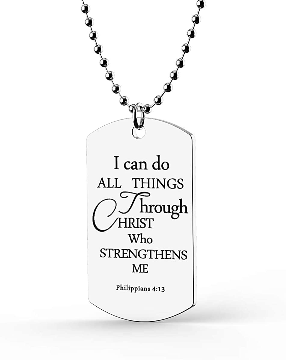 HOFOYA Sports Athletes Pendant Necklace with Inspiring Bible Quote from Phil 4:13 Baseball Basketball Football Soccer Volleyball The Jewelry Gift Suitable for women men boys girls and Kids who love sports coach or teammate gift.