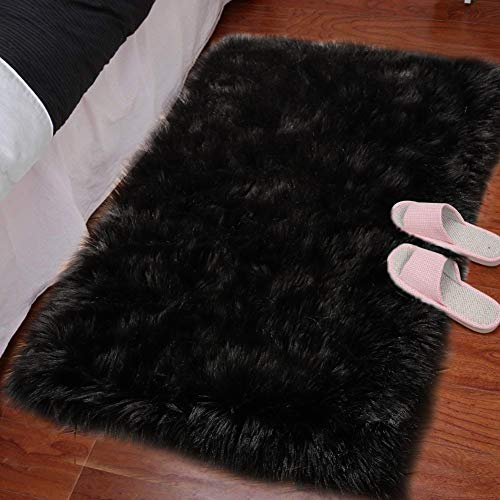 LOCHAS Silky Soft Faux Fur Sheepskin Rug 2'x3', Fluffy Bedside Rugs for Bedroom Thick Floor Wool Carpet, Machine Washable, Black