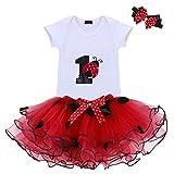 Baby Girls 1st Birthday Cake Smash 3pcs Outfits Set Cotton Romper Bodysuit+Tutu Dress+Flower Headband Princess Skirt Clothes (3pcs Red Ladybug)