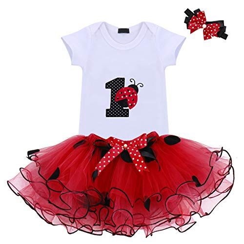 Baby Girls 1st Birthday Cake Smash 3pcs Outfits Set Cotton Romper Bodysuit+Tutu Dress+Flower Headband Princess Skirt Clothes (3pcs Red Ladybug)