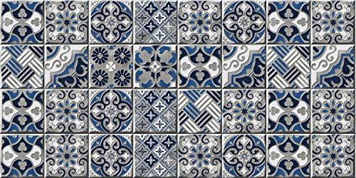 De'Carpet Alfombra VINILICA Estampada Vinilo Base Goma Natural FÁCIL Limpieza 100% Antideslizante Acolchada BALDOSA Azul VATAN (40X60cm)