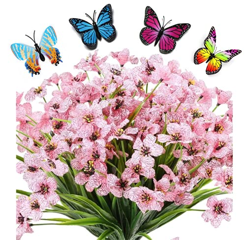 6 Bouquets Artificial Flowers Outdoor Uv Resistant Fake Violet Flowers No...