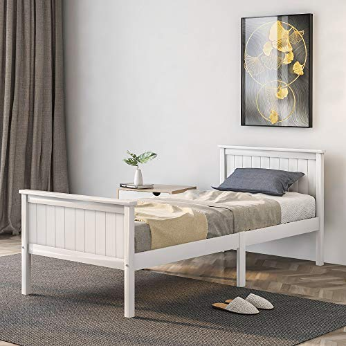 Susue Single Pine Bed Frame, Wooden Bed Frame with Headboard and Footboard, Pine Wood Bed for Kids Bedroom 90 x 190 cm, Ivory, Delivery time 5-8 days