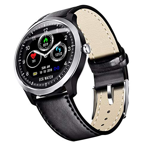 2021 versión reloj inteligente para hombre, reloj inteligente, reloj de fitness con monitor de ritmo cardíaco y monitor de sueño, contador de pasos, distancia/calorías piel negra