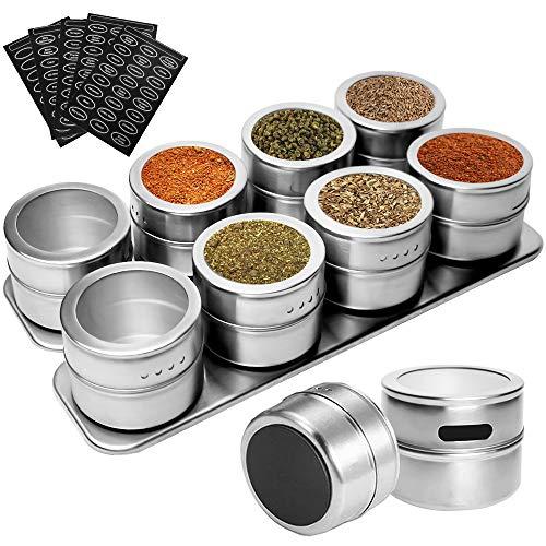 GCSVEES Gewürzdosen Magnetisch Edelstahl Gewürze Spice Jars,Gewürzstreuer, Rund Gewürzdosen, Würze Lagerung Tank Set für Spice Kräuter Gewürze, Magnetisch Auf Kühlschrank Und Grill