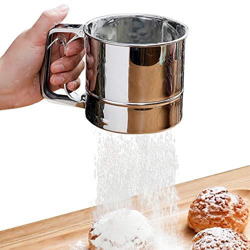Mehlsieb Einhand 400 g Mehl, Handsieb aus Edelstahl, Puderzuckersieber für Cappuccino Schokopulver Zucker Zimt Mehl Salz Gewürz(Silber)