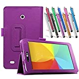 LG G Pad 7.0 Leather Case, TDA(TM) Slim Folding PU Leather Cover Case with Auto Sleep/Wake Feature for LG G Pad V400/V410 (LTE)/VK410/UK410/LK430 (G Pad F7.0) 7 Inch Tablet With 1 Stylus Pen (Purple)