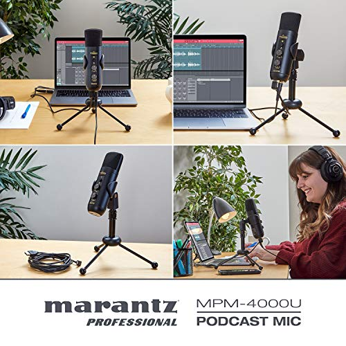 Marantz Professional MPM-4000U Podcast Mic - USB Condenser Microphone With Mixer and Headphone Output for Podcasting, Live Streaming, YouTube Projects