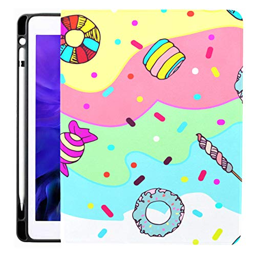Case For Ipad Pro 12.9 Inch (2020/2018 Release) with Pencil Holder, Full-body Trifold Stand Protective Case Smart Cover With Auto Sleep/wake, Colorful Cute Sweet Candy