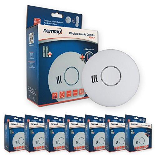 Nemaxx 7HW2 7X HW-2 Funkrauchmelder-hochwertiger Rauchmelder mit kombiniertem Rauch-und...