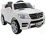 Mercedes ML 350 VIP Blanco Mando a distancia XXL Sound Light Radio EKO-Ledersitz cinturones Niños Coche Eléctrico Coche