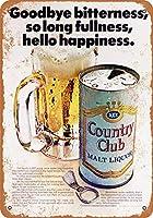 Shimaier 20×30cm 金属ブリキ看板ホーム装飾壁アート 1966 Country Club Malt Liquor