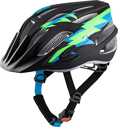 ALPINA FB JR. 2.0 LE Fahrradhelm, Kinder, blk-green-blue matt, 50-55