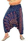 Sarjana Handicrafts Mens Womens Rayon Mandala Pockets Harem Pants Yoga Drop Crotch Trouser (Blue)