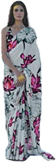 GRAB MANTRA SILK AND COTTON SAREES, Beautiful satin silk saree with white base and lotus flower print all over with unstit...