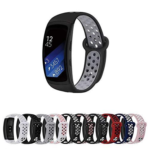 Pulseira Silicone Sport para Samsung Gear Fit 2 Pro R360 R365 - Preto/Cinza - Marca Ltimports
