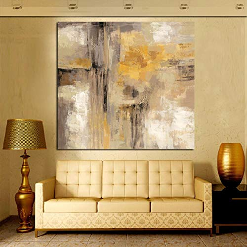 Cuadro al óleo abstracto amarillo gris sobre lienzo, póster de pared, impresión HD, decoración de la sala de estar sofá sin marco, 70 x 70 cm