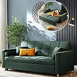 ADHW Sofá cama plegable de tela nórdica, sofá cama convertible, sofá cama de dos asientos, sofá futón multifuncional, verde, 210 cm (verde, 210 cm)