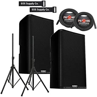 QSC K12.2 EOS Audio Bundle Package w/ Heavy Duty Speaker Stands and 25' XLR Cables