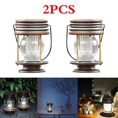 Porcyco Outdoor Zonne-lantaarns, 2 stks Retro Vintage Paard Binnenplaats Licht, Zonne-olie Lamp met haak, Geen vlam, Geen rook, voor buiten, Patio, Tuin (Warm Wit)