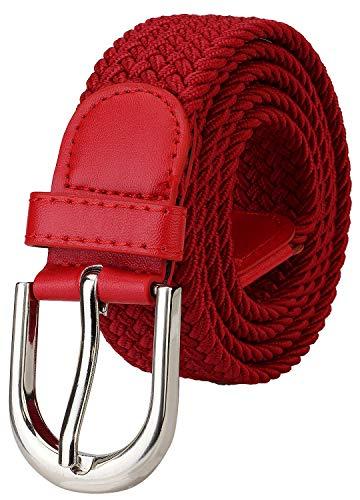 Falari Men Women Canvas Elastic Fabric Woven Stretch Braided Belt - 1003 - Red-Medium