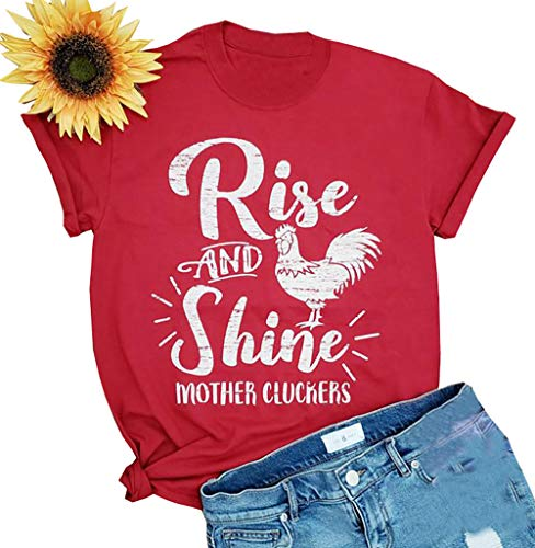 Rise and Shine Mother Chicken Mom Cute T Shirts Women's Letter Print Mom Life Tees Tops Farm Country Casual Tshirt (Small, Red)