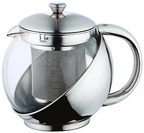 Teekanne mit Siebeinsatz Edelstahl Tee Zubereiter 750 ml Teebereiter (Glaskanne mit Teesieb, Quarz Glas, Hitzebeständig)