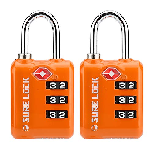 SURE LOCK TSA Approved 3 Digit Luggage Locks with Zinc Alloy Body and Hardened Steel Shackle to Lock Travel Suitcase (ORANGR 2 Pack)