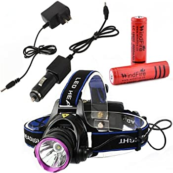 WINDFIRE 1800LM CREE XM-L T6 U2 LED Waterproof Zoomable Rotating Headlamp LED Headlight with 2 x 18650 Batteries and AC Charger Car Charger USB Cable Charger for Camping Batteries Included