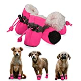 YAODHAOD Dog Shoes, Dog Boots Paw Protector, Winter Warm Comfortable Soft Soled Dog Skidproof Sneakers with Reflective Straps, for Small Dog (Size 7: 2.3'x1.9' (LW), Pink)