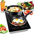 Dual 120V Electric Induction Cooker - 1800w Portable Digital Ceramic Countertop Double Burner Cooktop w/ Countdown Timer - Works w/ Stainless Steel Pan / Magnetic Cookware - NutriChef PKSTIND52