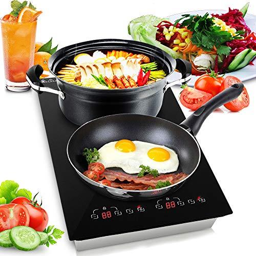 NutriChef – Dual 120V Electric Induction Cooker – 1800w Digital Ceramic Countertop Double Burner Cooktop – Black