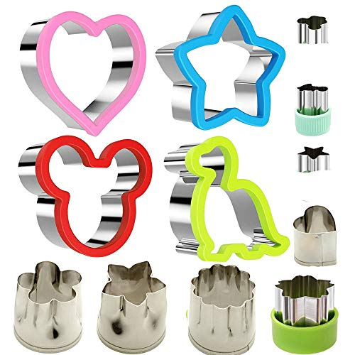 Stainless Steel Sandwiches Cutter set, Mickey Mouse & Dinosaur & Heart & Star Shapes Sandwich Cutters Cookie Cutters Vegetable cutters-Food Grade Cookie Cutter Mold for Kids (Big+Small, 12pac)