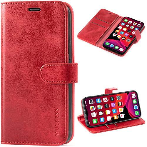 Mulbess Cover per iPhone 12 Mini, Custodia Pelle con Magnetica per iPhone 12 Mini (5.4) 5G [Vinatge Case], Vino Rosso