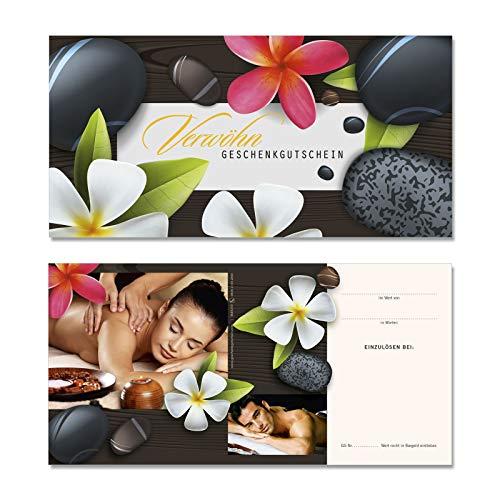 50 hochwertige Gutscheinkarten Geschenkgutscheine DIN-lang. Gutscheine für Massage Wellness Spa Kosmetik. Vorderseite hochglänzend. MA9239