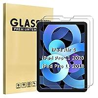 【Aokil】[2枚入り]iPad Air 4 2020 フィルム iPad 10.9インチガラスフィルム iPad Air 第四世代/iPad Pro 11(二世代 2020/一世代 2018)通用 強化ガラス保護フィルム 高硬度9H 耐スクラッチ 指紋軽減 高感度タッチ 薄型 高透過率 貼り付け簡単 自動吸着 気泡ゼロ 飛散防 強化ガラスフィルム -- 透明 (iPad Air 4/iPad Pro 11 (2020 第2世代/2018 第1世代))