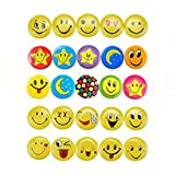DOYIFun Mini Mental Smiley Smile Face Button Pins for Decoations, Classroom rewards, Birthday Party/Celebrations-1.2 Inch Size - 60 Pack, Multicoloured, Small