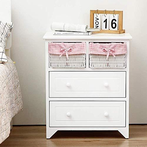 EXQUI Nachttisch Nachtschrank Nachtkommode mit 2 Schubladen und 2 Weidenkörbe Kommoden Sideboard Schrank aus Holz für Wohnzimmer Schlafzimmer Flur Weiß G142W
